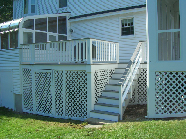 removed all wood decking boards and replaced with pvc deck boards, rebuilt stairway, prepped and painted deck/lattice areas