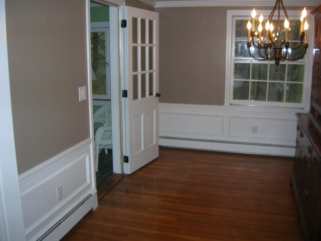 prepped/painted dining room, added wainscotting